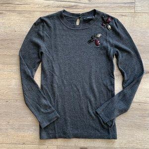 Zara Crewneck Grey Gem Sweater - Size XS